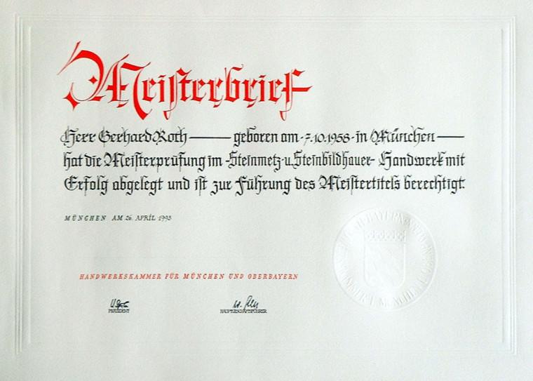 Steinmetzmeisterbrief